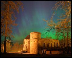 Aurora Borealis / Northern lights over Cēsis castle, Latvia. Photo by Kaspars Kurcens. #Baltic #Medieval