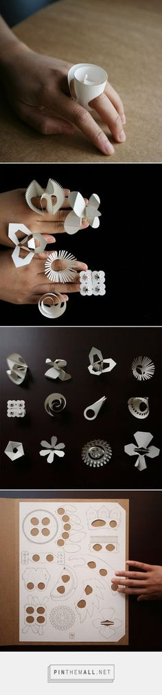 Paper rings by Tithi Kutchamuch and Nutre Arayavanish - not really origami but it's made of paper Paper Rings, Paper Jewelry, Paper Beads, Diy Jewelry, Hippie Jewelry, Bead Jewelry, Jewelry Making, Origami Paper, Diy Paper