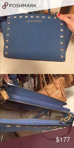 Brand New Michael Kors Selma Studded Messenger Bag Brand New Michael Kors Selma Studded Messenger Bag, Steel Blue Michael Kors Bags Shoulder Bags