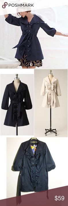 """Anthropologie Idra """"Whimsy"""" ruffle trench coat 8 Beautiful and feminine twist on a classic trench. Idra proves that two is better than one by repeating two rows of buttons and layering the lapels on their lustrous twill topper. 3/4 length balloon sleeves, button front, side pockets, completely lined. Had a very soft satin sheen. 100% poly. Approx 36"""" bust, 34.5"""" length. Base color is navy blue, not black. Hard to pick in photos! ✅offers❌trades/PP 💰make an offer on bundles Anthropologie…"""