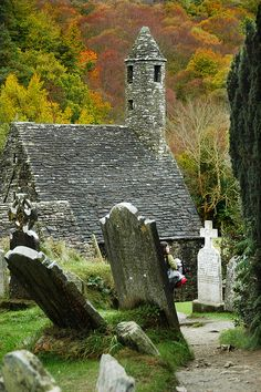 "St. Kevin's Kitchen ~ Glendalough, Wicklow, Ireland ~ is a nave-and-chancel church of the 12th century. It is named after St. Kevin, or Coemhghein in Irish, meaning ""fair begotten"" a descendant of one of the ruling families in Leinster.   St Kevin studied, as a boy under the care of three holy men, Eoghan, Lochan, and Eanna. During this time he went to Glendalough and lived, we are told, ""in the hollow of a tree"".   He later returned with a small group of monks to found a monastery where the ..."
