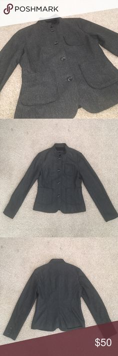 New Banana Republic Wool Blazer Size 6 New without tags, never worn. Fully lined.  From shoulder to bottom of sleeve 24.75 inches, pit to pit 16 inches, length 23 inches from top to bottom, shoulder to shoulder 15 inches. Banana Republic Jackets & Coats Blazers