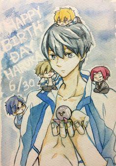 Happy Birthday Haru! ... Drawn by toA ... Free! - Iwatobi Swim Club, haruka nanase, haru nanase, haru, free!, iwatobi, rin matsuoka, matsuoka, rin, makoto tachibana, makoto, tachibana, nagisa hazuki, nagisa, hazuki, nanase, rei, rei ryugazaki, ryugazaki