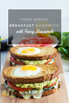 Check out this grown-up version of eggs in a hole - Three Greens Breakfast Sandwich with Fancy Guacamole.