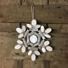 """Round Birch Wood Slices Snowflake Ornament Size: 8-1/2""""                                                                                                                                                                                 More"""