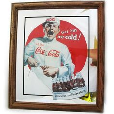 VINTAGE 1989 Old COCA COLA COKE Soda MIRROR Glass ADVERTISING SIGN Framed 15x13 $225 ... we sell more OLD and VINTAGE HOME DECORATIONS at http://www.TropicalFeel.com