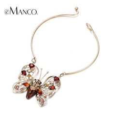 eManco Gold Crystal Enamel Butterfly Pendant Collar Torques Necklace