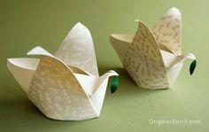 Origami peace dove -- Box / lantern --Paloma de papel Caja #origamibird #origamidove #peace