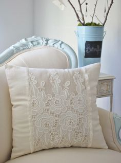 Vintage French cutwork embroidery pillow w/cream fleurs and rosebuds design Lovely using pattern from old net/lace curtains