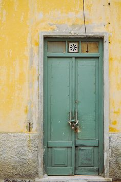 Green Door Print, Tropical Colors, Travel Photo, Lisbon by hellotwiggs