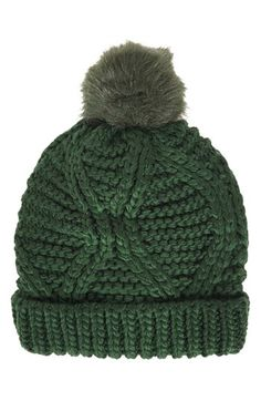 $28, Dark Green Beanie: Topshop Cable Knit Pompom Beanie Dark Green One Size. Sold by Nordstrom. Click for more info: https://lookastic.com/women/shop_items/114600/redirect