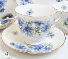 Queen Anne china with blue cornflowers.