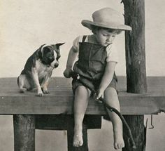 so cute... looks like a Rat Terrier Vintage photo boy with dog fishing