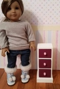 18 inch Doll 3 drawer cabinet night stand end table doll