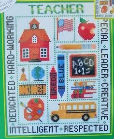 CANDAMAR DESIGNS TEACHER PICTURE Counted Cross Stitch Kit Apple Bus School