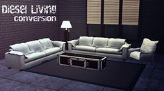 brial-immortelle:Diesel LivingConversion from TS3 Diesel Stuff Pack- Comes in 3 colors (white,blue and black)- Mesh and texture - EA/MaxisDOWNLOAD