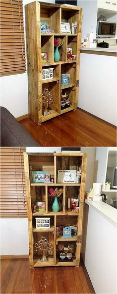lovely pallet wood feature shelving unit style1