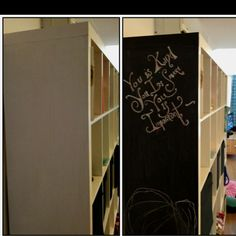 Before and after blackboard paint on side of expedit.