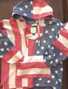 Rare Vtg 70'S Hippie Baja Hoodie Pullover American Flag #Salcado