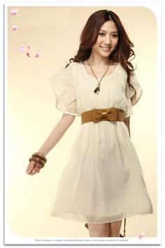 Graceful Pure Color Scoop Neck Flutter Sleeves Chiffon Dress White on BuyTrends.com, only price $7.82