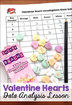 Free Valentine Candy Hearts math data and statistics activity! Students conduct a simple investigation to find out if all boxes of Valentine candy hearts are the same. As a class, they calculate the range, mode, median, and mean of 10 boxes of candy and t Teaching Math, Teaching Ideas, Teaching Resources, Math Literacy, Teaching Activities, Preschool Math, Numeracy, Teaching Reading, Valentine Candy Hearts