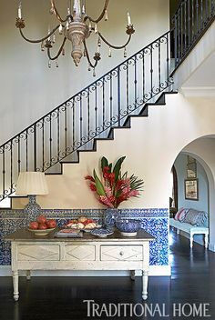 Romantic Riviera-Style Home | Traditional Home (Moroccan inspired entry)