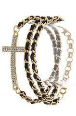 Cross Beaded Wrapped Bracelet   black