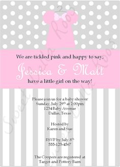 Baby Girl Shower Invitation by SweetBellaRoos on Etsy, $10.00