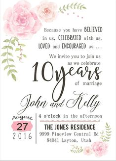 Custom Watercolor Flower 10th Year Anniversary By Creoleartdesigns Parties Wedding Gift
