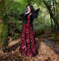 Moonmaiden Gothic Clothing - Moonshadow Mausoleum Skirt - lace, taffeta and steamed velvet corset waist skirt