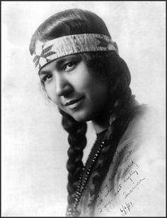 """Tsianina Redfeather -Tsianina is pronounced: Cha'-nee-na. She was a singer and actress. Her father was an Omaha Chief, her mother a Cherokee. Photo taken 1920. The inscription reads: """"To Mr. R. R. Bren my very good friend and whose friendship I prize most highly - Tsianina 6/6/20."""""""
