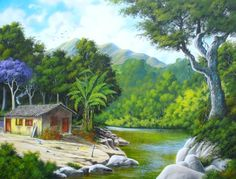Landscape painting with poster color for beginners Green Landscape, Fantasy Landscape, Landscape Art, Landscape Paintings, Night Sky Painting, Galaxy Painting, Poster Color Painting, Scenery Paintings, Puerto Rico Pictures