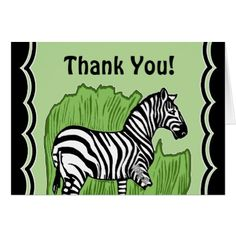 #black - #Zebra Art Green and Black Thank You Greeting Card