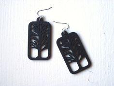 Wooden Tree Earrings  Black Dangle Design Laser by KalimayaShop, $12.00