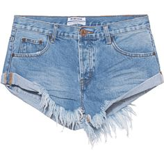 One Teaspoon Bandits Hollywood // Destroyed denim shorts (273.790 COP) ❤ liked on Polyvore featuring shorts, bottoms, short, pants, destroyed jean shorts, short shorts, ripped jean shorts, distressed jean shorts and distressed shorts