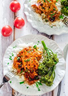 Spicy Honey Garlic Chicken Thighs with Rice and Broccolini - the combination of Sriracha sauce, honey and garlic is the perfect marinate for these boneless skinless chicken thighs.
