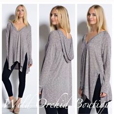 "Oversized Tunic Hooded Oversized Tunic with side slits. Herringbone pattern. Color is Dusty Rose/mauve. 31% Polyester 68% Rayon. Length falls from shoulder to hem:  Small- 30""front 33""back /Medium- 31"" front 34""back /Large 33""front 35""back. Great weight to this tunic. Available S-M-L.      Style #T114.        •Please use the ""Buy Now"" or ""Add to Bundle"" feature to purchase. Thank you💕 🌿LOWEST PRICE UP FRONT CLOSET   Tops Tunics"