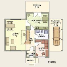 proiecte de case cu semineu House plans with fireplaces 14 H Design, Design Case, Craftsman Floor Plans, One Bed, Two Bedroom, Bedrooms, Tiny House Design, House Plans, Flooring