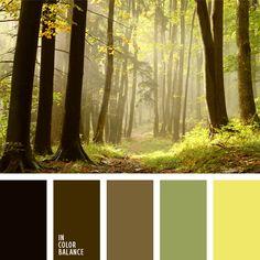 amarillo y verde, color corteza del árbol, color espesura del bosque, color tronco de árbol, color verde bosque, elección del color, matices de color verde bosque, matices de colores pastel, selección de colores, tonos marrones, tonos pastel, tonos verdes, verde y marrón.