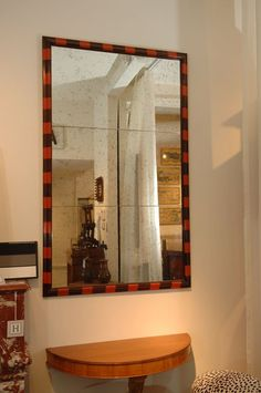 Pair Of Striped Wood Framed Mirrors
