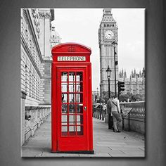 Black And White & Red Red Telephone Booth And Big Ben In London Street Wall Art Painting Pictures Print On Canvas City The Picture For Home Modern Decoration (Stretched By Wooden Frame,Ready To Hang)