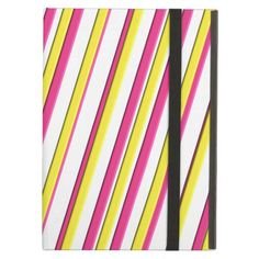 Stylish Pink, Yellow and White Candy Stripe iPad Air Covers