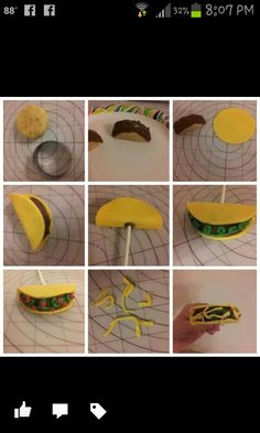"""Taco cake pop tutorial I started with my cake pop mixture of vanilla cake and butter cream. Cut a 2"""" circle about 1/2"""" thick, cut in half .place in freezer to firm up.  Dip top of each half in milk chocolate melts . Cut a 2 3/4"""" circle of golden yellow fondant . Put a little water on fondant and wrap around cake. Place stick with a little chocolate to hold. Let sit and firm up . Then pipe on green melts for the lettuce. Then after lettuce firms up I piped tomatoes . While tomatoes are still…"""
