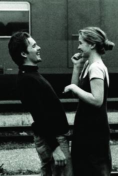 "lottereinigerforever:  ""Ethan Hawke & Julie Delpy on the set of Richard Linklater's ""Before Sunrise"" """