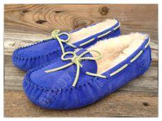 UGG Australia Kids Dakota Deep Periwinkle Blue Mocassin Slippers
