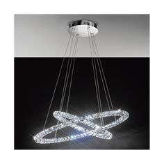 Eglo LED Chandelier / Toneria / Two Crystal Clear Glass Rings / Polished Chrome Ceiling Plate Ceiling Chandelier, Led Ceiling Lights, Flush Lighting, Cool Lighting, Pendant Light Fixtures, Light Fittings, Gold Wall Lights, Table Led, Spot Plafond