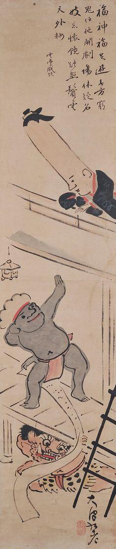 Edo era 紀楳亭『大津絵見立て忠臣蔵七段目図』