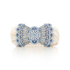 Tiffany & Co. -  Bracelet in platinum with Montana sapphires, Keshi pearls and diamonds.