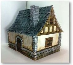 How-to: Medieval house for tabletop wargaming by TerraGenesis Dollhouse Miniature Tutorials, Miniature Houses, Dollhouse Miniatures, Figurine Warhammer, Medieval Houses, Victorian Houses, 3d Modelle, Wargaming Terrain, Gnome House