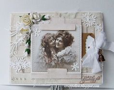 Christmas card in pastel pink
